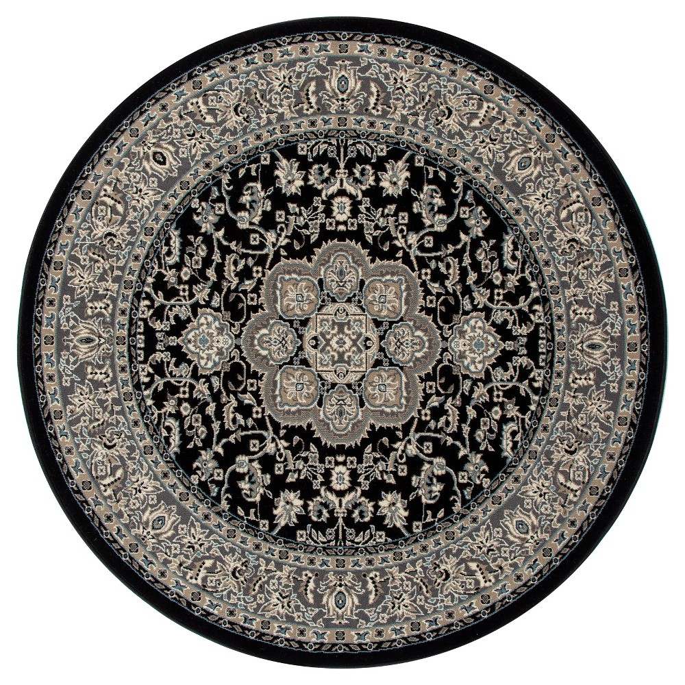 Image of Black Classic Woven Round Area Rug - (5') - Art Carpet