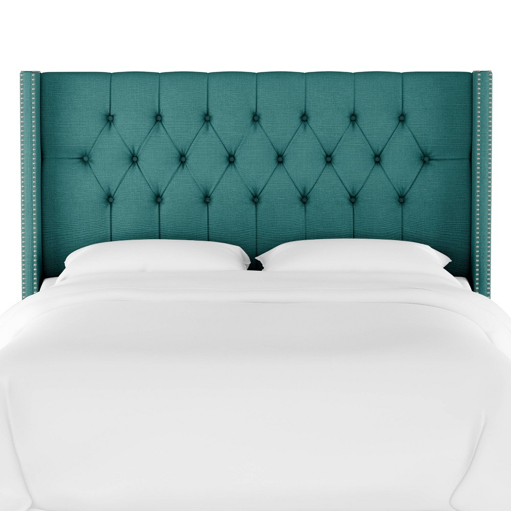 Full Louis Diamond Tufted Wingback Headboard Teal Linen with Pewter Nail Buttons - Skyline Furniture