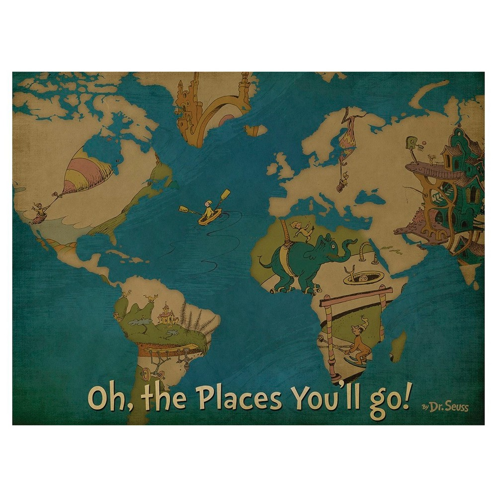 Image of Dr. Seuss Oh The Places You'll Go Canvas Map 18x24, Multi-Colored