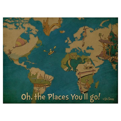 Dr. Seuss Oh The Places You'll Go Canvas Map 18x24 : Target on