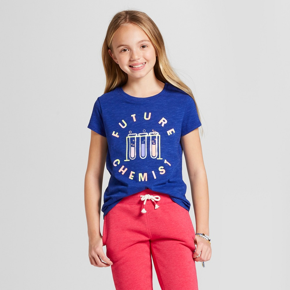 Girls' Short Sleeve Future Chemist Graphic T-Shirt - Cat & Jack Blue L