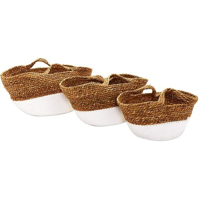Farmlyn Creek 3-Pack Round Woven Storage Baskets with Handles for Boho Decoration (3 Sizes)