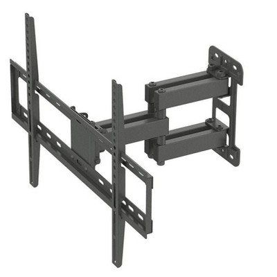 """Monoprice Titan Series Full Motion Single Stud Dual Arm Wall Mount For Large Up to 70"""" Inch TVs Displays, Max 99 LBS. 200x200 to 600x400, Black"""