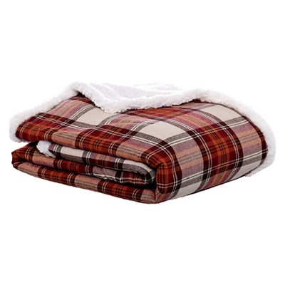"50""x60"" Edgewood Plaid Flannel Sherpa Throw Blanket Red - Eddie Bauer"