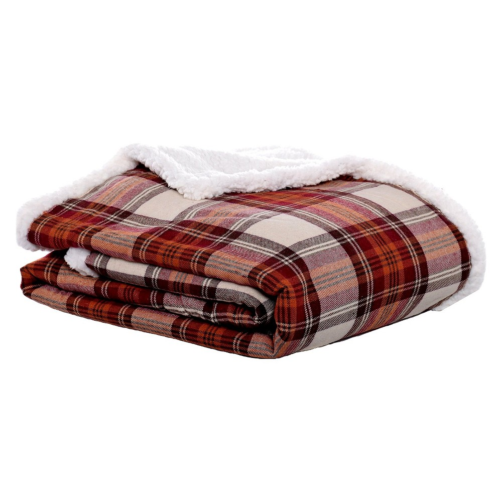 Red Edgewood Plaid Flannel Sherpa Throw (50