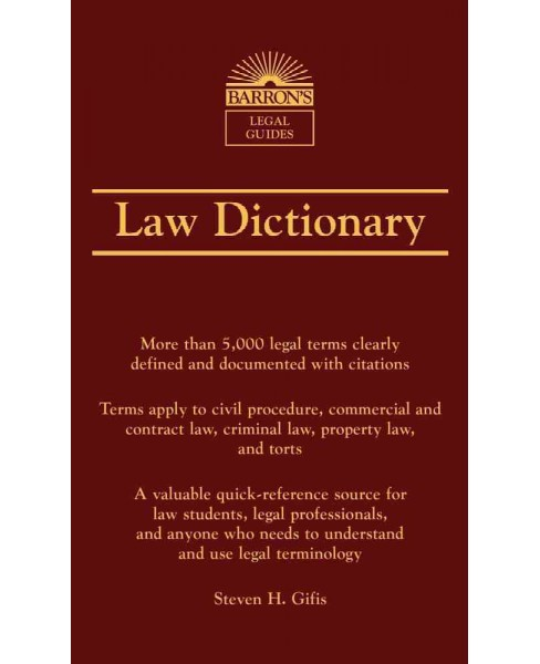 Barron's Law Dictionary (Paperback) (Steven H. Gifis) - image 1 of 1