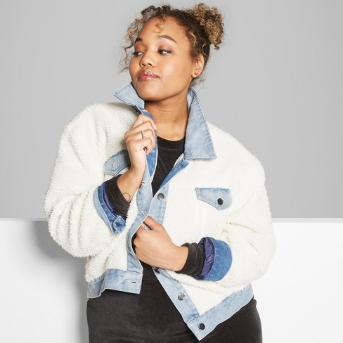 acf3949280d Women s Plus Size Solid Sherpa Jacket with Denim - Wild Fable™ Natural