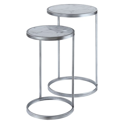 Gold Coast Faux Marble Nesting End Tables Faux Marble/Silver - Johar - image 1 of 4