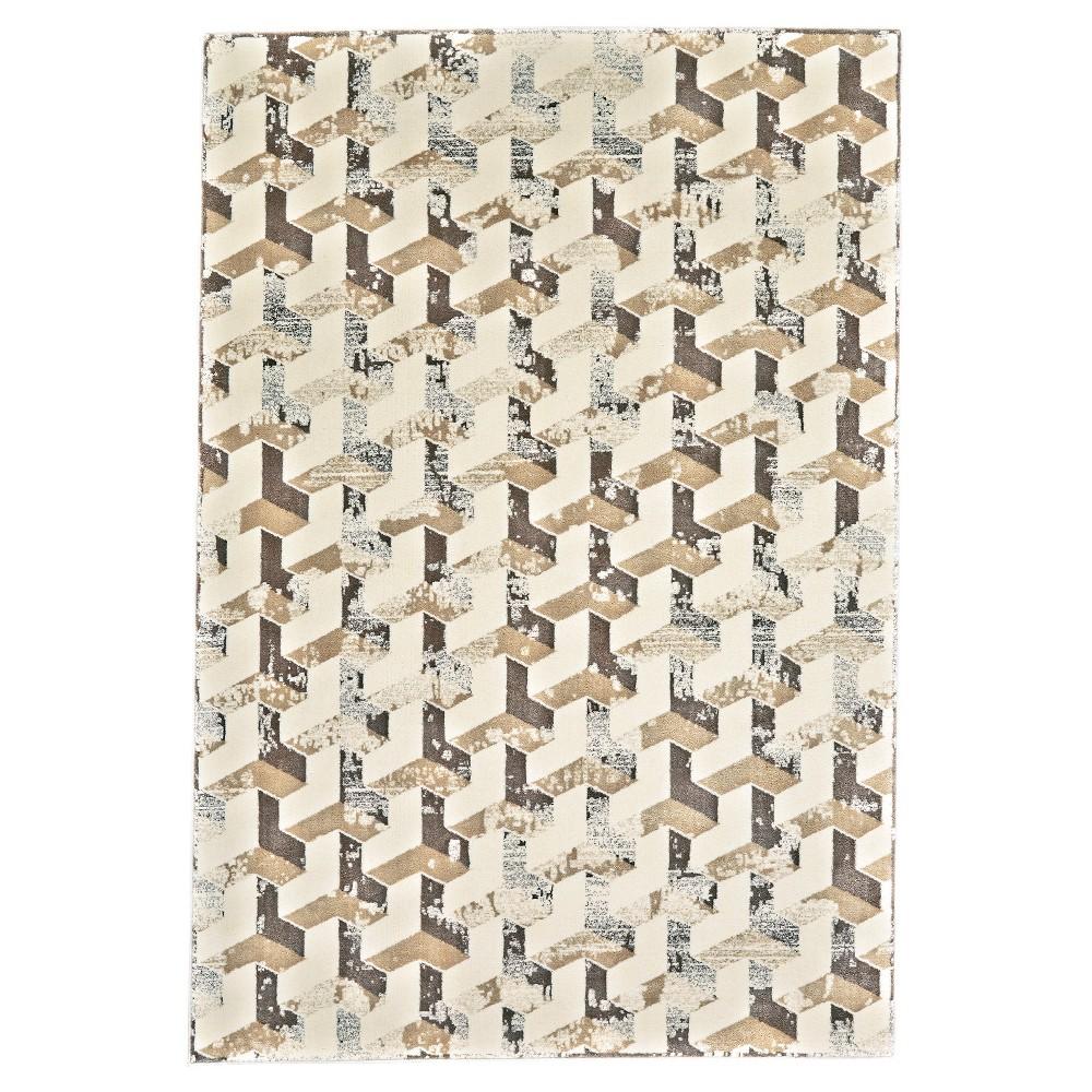 Geometric Woven Accent Rugs Cream/Silver