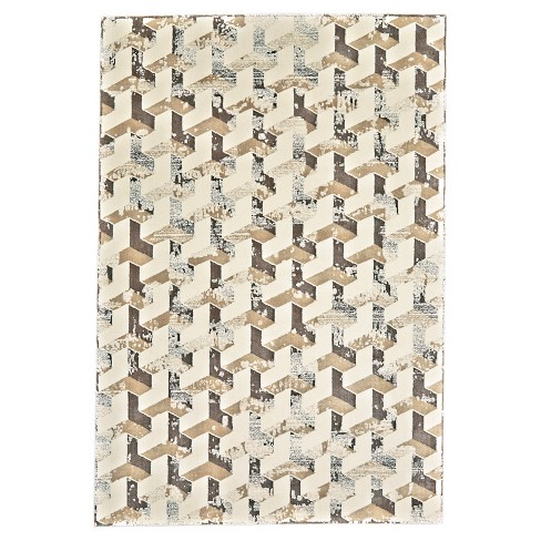 """2'2""""X4' Geometric Woven Accent Rugs Cream/Silver - Room Envy - image 1 of 3"""