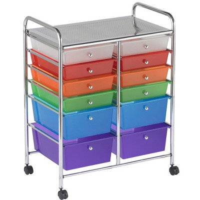 ECR4Kids 12-Drawer (8+4) Plastic Mobile Organizer, Rolling Cart for Storage - Assorted Colors