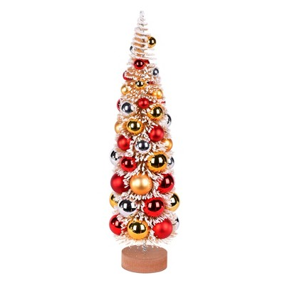 """Vickerman 18"""" Vintage Tabletop Frosted Gold Artificial Christmas Tree, Red, Gold, Silver Ornament"""