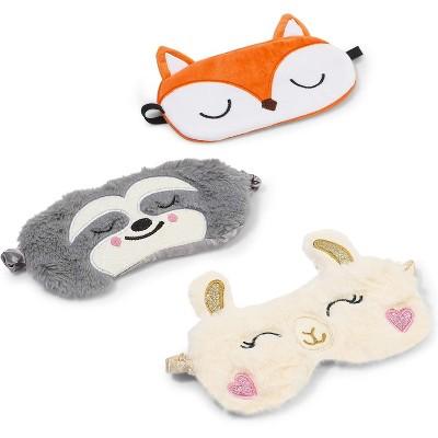 Glamlily 3-Pack Animal Sleeping Eye Mask Travel Sleep Eye Cover Set for Kids with Sloth Llama Fox