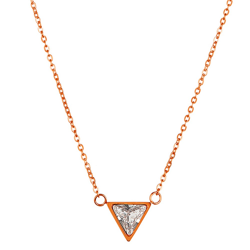 "Image of ""ELYA Triangle Cut Chain Necklace with Cubic Zirconia - Rose Gold (18""""), Women's, Size: Small, Pink Gold"""