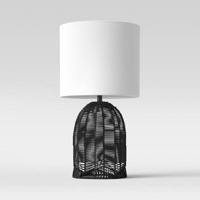 Assembled Natural Woven Table Lamp (Includes LED Light Bulb)Black - Opalhouse™