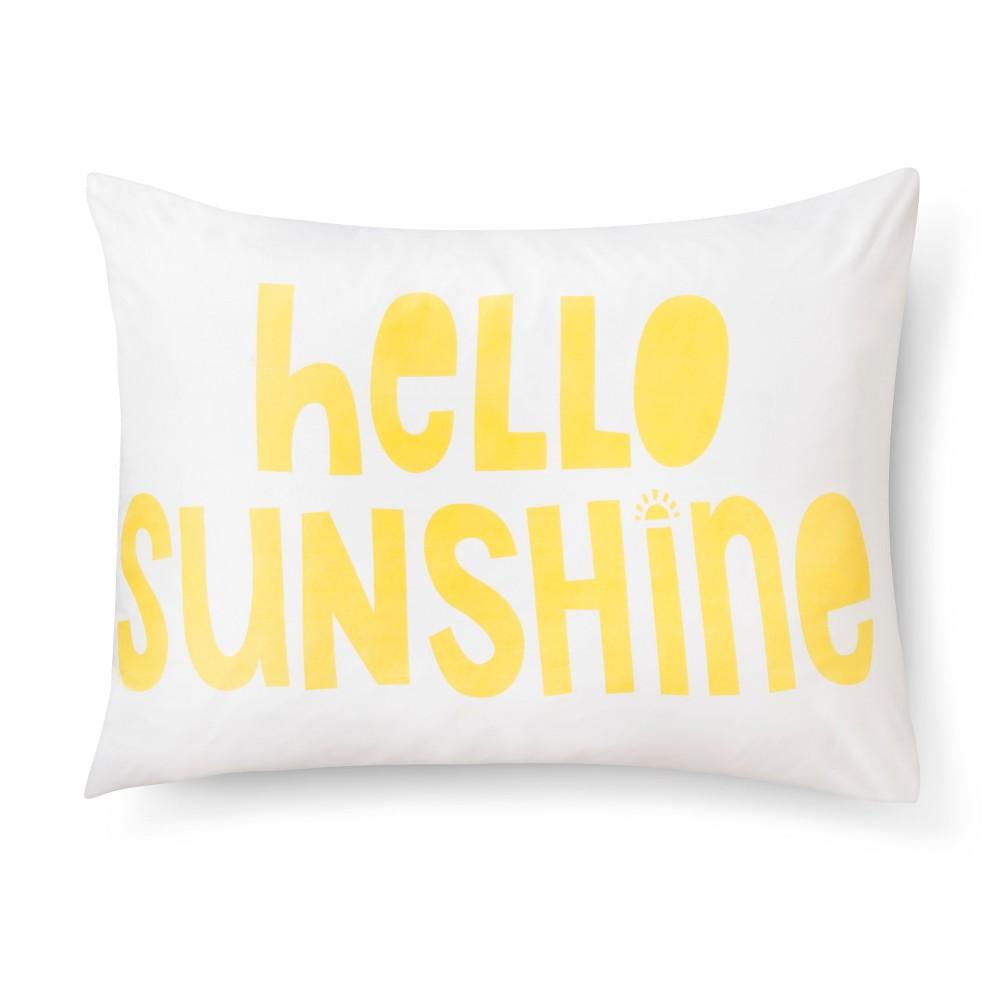 Hello Sunshine Pillowcase - Standard - White - Pillowfort