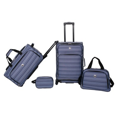 Skyline 4pc Luggage Set - Navy Stripe