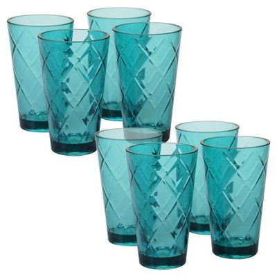 Certified International Diamond Acrylic Tumblers 20oz Teal - Set of 8