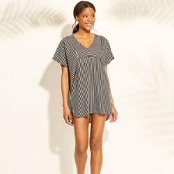 Women's Woven Kaftan Cover Up Dress - Xhilaration™ Black Stripe