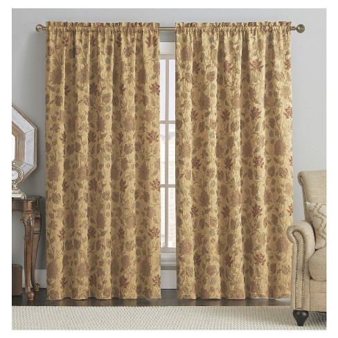 "54""x84"" Nottingham Chenille Jacquard Rod Pocket Room Darkening Window Curtain Panel Mustard Yellow - VCNY - image 1 of 1"