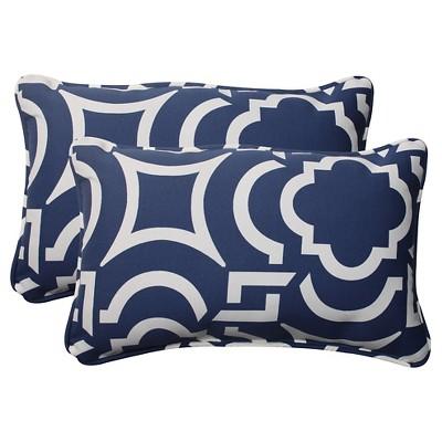 Outdoor 2-Piece Lumbar Toss Pillow Set - Blue/White Geometric