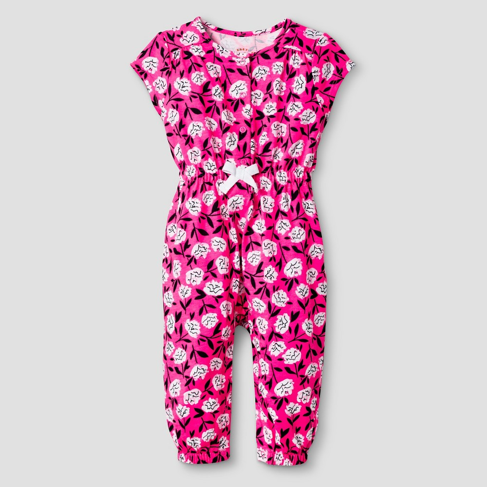 Baby Girls' Short Sleeve Floral Romper - Cat & Jack Pink/Purple 18M, Dazzle Pink Opaque