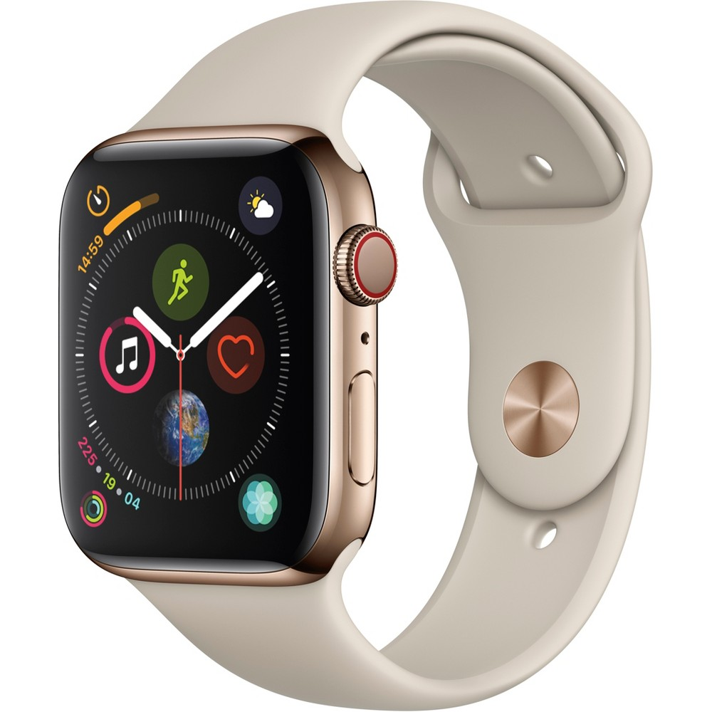 Apple Watch Series 4 GPS & Cellular 44mm Gold Stainless Steel Case with Sport Band - Stone
