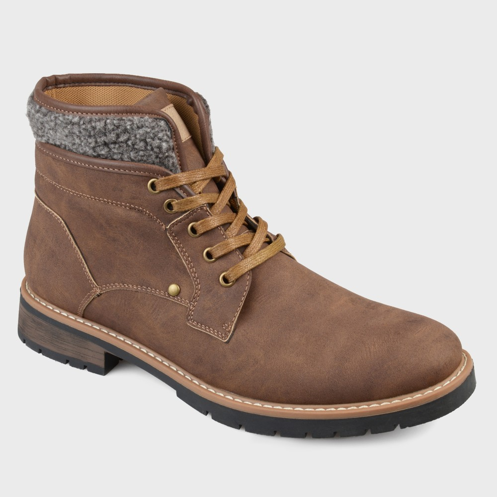 Men's Vance Co. Darvin Faux Leather Casual Lace-Up Boot - Brown 13