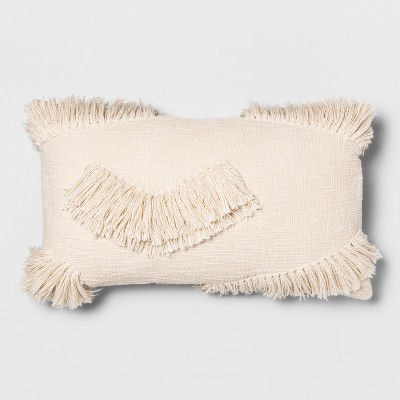 Textured Fringe Oversize Lumbar Throw Pillow Cream - Opalhouse™
