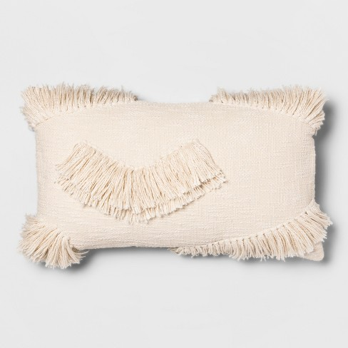 Textured Fringe Oversize Lumbar Throw Pillow Cream - Opalhouse™ - image 1 of 5