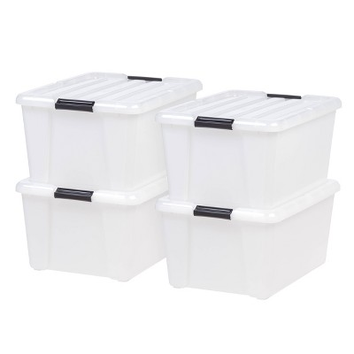 IRIS 45qt 4pk Buckle Up Storage Box Pearl