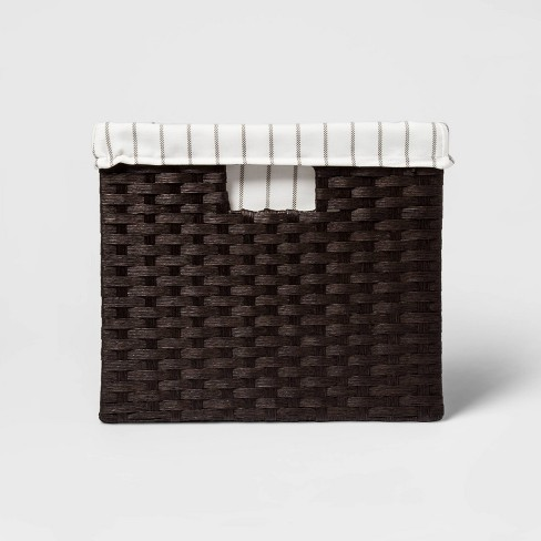 """14.75 x13x11"""" Large Lined Milk Crate Dark Brown Weave - Threshold™ - image 1 of 3"""