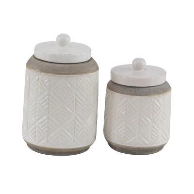 Set of 2 Modern Ribbed Stoneware Jars - Olivia & May