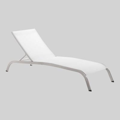 Savannah Mesh Chaise Outdoor Patio Aluminum Lounge Chair - White - Modway