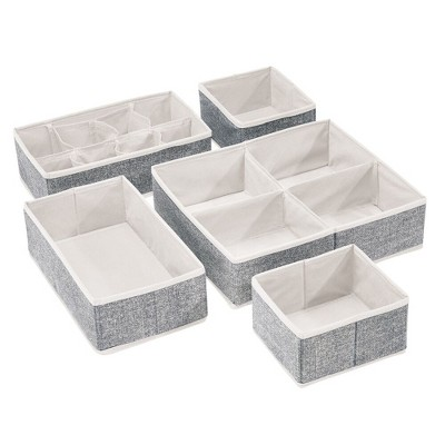 mDesign Fabric Dresser Drawer, Closet Storage Bins, Set of 5