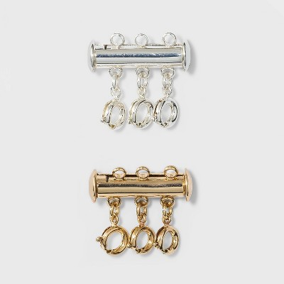 Two-Tone Magnetic Link Three Ring Set 2pc - A New Day™ Silver/Gold