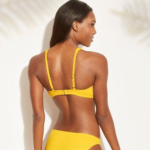 722ef3ac611 Women s Ribbed Cut Out Tie Front Bralette Bikini Top - Xhilaration ...