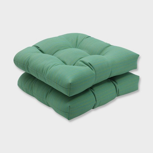 2pk Dupione Paradise Wicker Outdoor Seat Cushions Green - Pillow Perfect - image 1 of 2