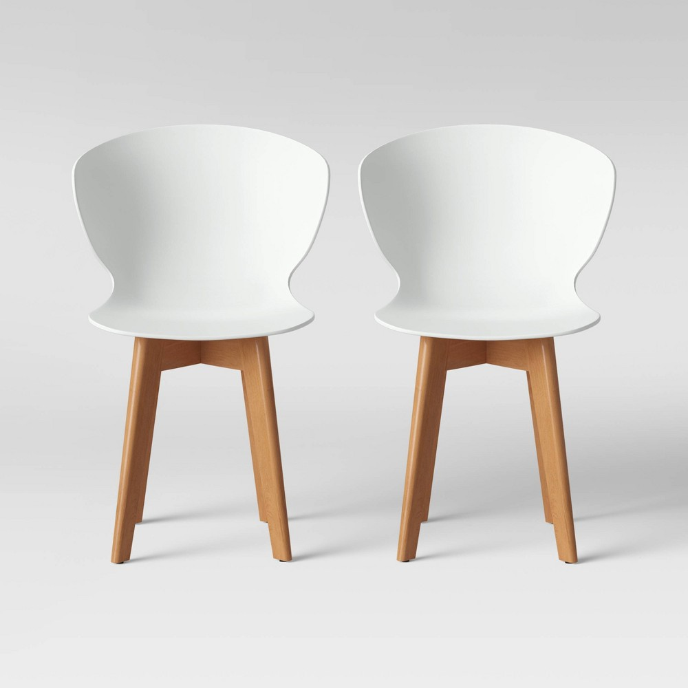 Set of 2 Lever Plastic Dining Chair with Wood Legs White - Project 62