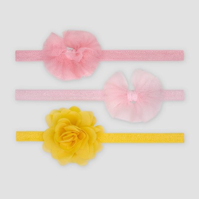Baby Girls' 3pk Bow and Pom Headwrap - Just One You® made by carter's Pink
