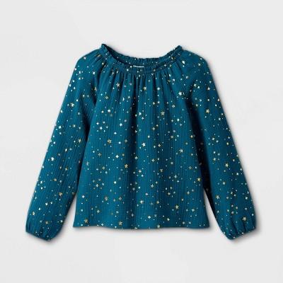 Girls' Printed Long Sleeve Woven Top - Cat & Jack™