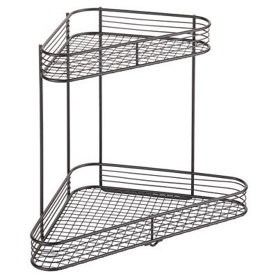Bathroom Corner Storage Shelves (2 Tier) Black   Room Essentials™