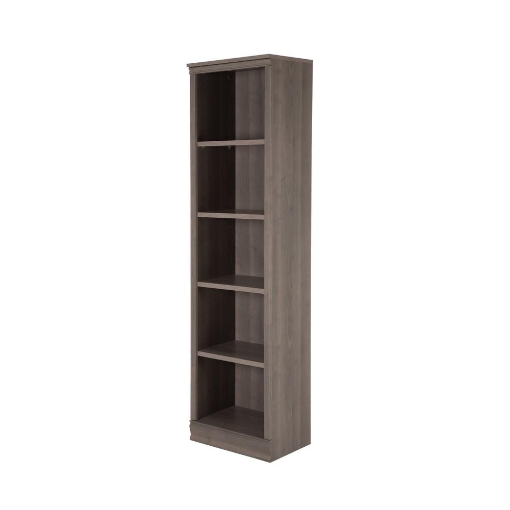 71.42 Morgan 5 Shelf Narrow Bookcase Gray Maple - South Shore