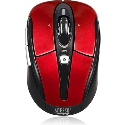 Adesso iMouse S60R - 2.4 GHz Wireless Programmable Nano Mouse - Optical - Wireless - Radio Frequency - Red - USB - 1600 dpi - Scroll Wheel