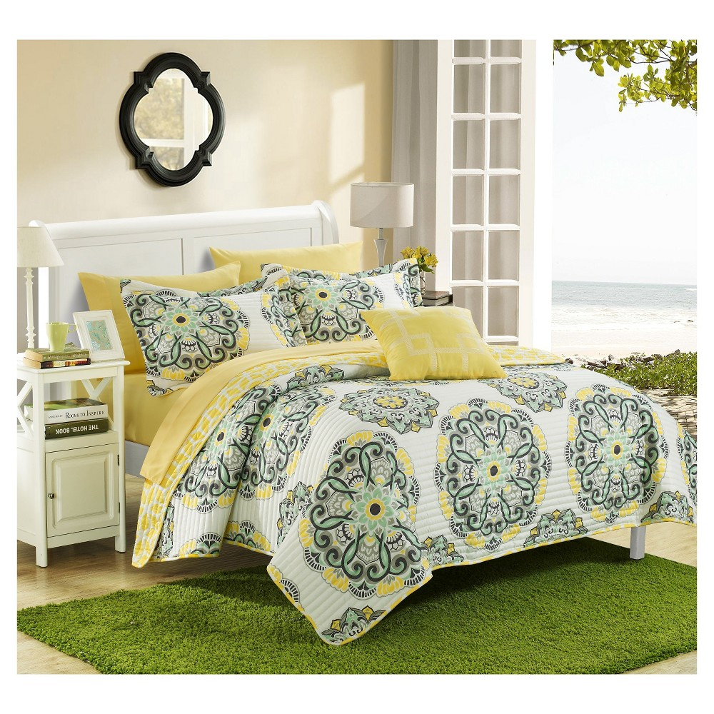Image of 8pc King Miranda Printed Medallion Reversible with Geometric Printed Backing Quilt Set Yellow - Chic Home Design