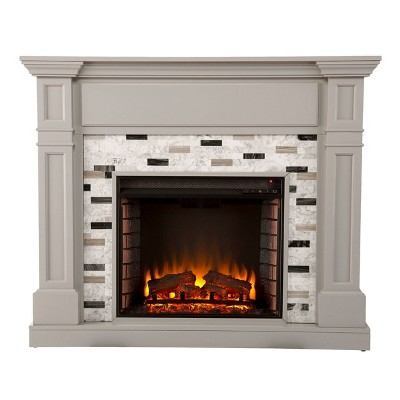 Talsham Electric Fireplace with Marble Surround Gray - Aiden Lane