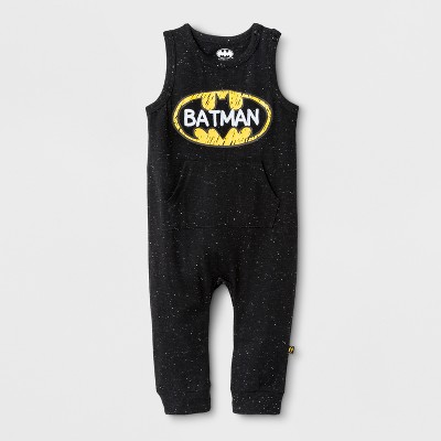 Baby Boys' DC Comics Batman Sleeveless Coveralls with Kangaroo Pocket - Black 6-9M