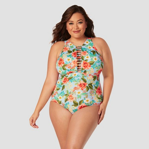 Women's Plus Size Slimming Control High Neck One Piece Swimsuit - Beach Betty by Miracle Brands Blue Floral - image 1 of 3