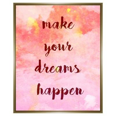 "18"" x 18"" Make Your Dreams Happen Single Picture Frame Gold - PTM Images"