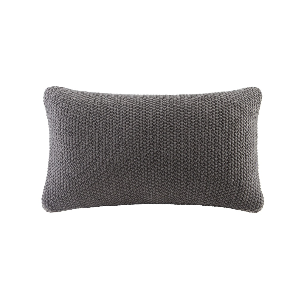 "Image of ""Bree Knit Throw Pillow Black, Size: 20""""x12"""""""